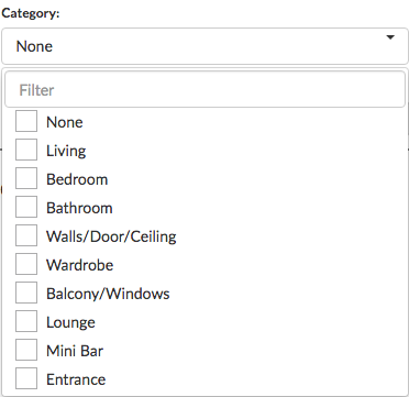 Example of Category list from 'Inventory Usage by Room Report'